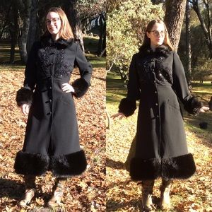 Tracy Reese Wool Fur Dramatic Maxi Winter Coat
